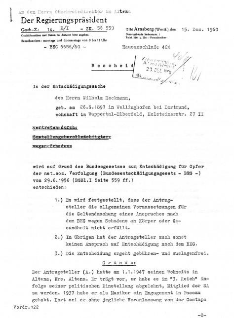 Bescheid des Regierungsbezirkes Arnsberg zum Entschädigungsantrag von Wilhelm Heckmann Seite 1 von 3