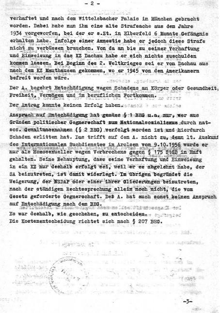 Bescheid des Regierungsbezirkes Arnsberg zum Entschädigungsantrag von Wilhelm Heckmann Seite 2 von 3