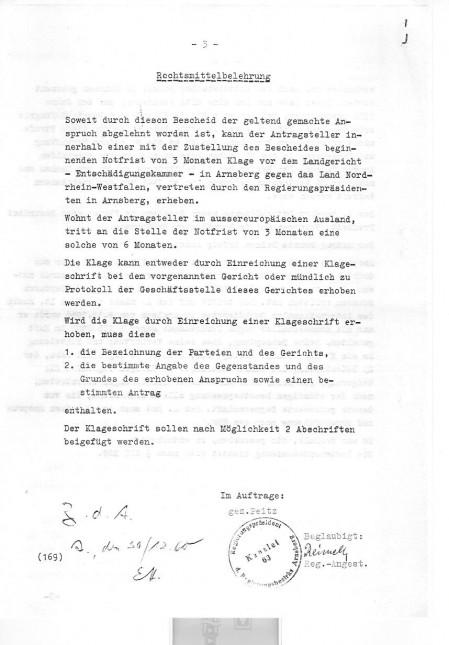 Bescheid des Regierungsbezirkes Arnsberg zum Entschädigungsantrag von Wilhelm Heckmann Seite 3 von 3